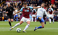 Burnley's Ashley Westwood shoots from close-range under pressure from Cardiff City's Lee Peltier<br /> <br /> Photographer Rich Linley/CameraSport<br /> <br /> The Premier League - Saturday 13th April 2019 - Burnley v Cardiff City - Turf Moor - Burnley<br /> <br /> World Copyright © 2019 CameraSport. All rights reserved. 43 Linden Ave. Countesthorpe. Leicester. England. LE8 5PG - Tel: +44 (0) 116 277 4147 - admin@camerasport.com - www.camerasport.com