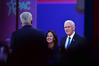 National Harbor, MD - March 1, 2019: U.S. Vice President Mike Pence and his wife Karen greet CPAC Chairman Matt Schlapp before addressing the annual Conservative Political Action Conference (CPAC) held at the Gaylord National Resort at National Harbor, MD March 1, 2019.  (Photo by Don Baxter/Media Images International)