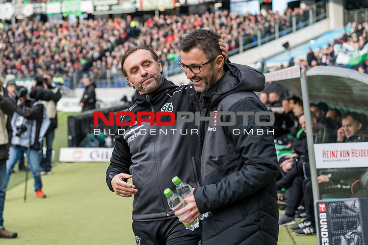 09.02.2019, HDI Arena, Hannover, GER, 1.FBL, Hannover 96 vs 1. FC Nuernberg<br /> <br /> DFL REGULATIONS PROHIBIT ANY USE OF PHOTOGRAPHS AS IMAGE SEQUENCES AND/OR QUASI-VIDEO.<br /> <br /> im Bild / picture shows<br /> Thomas Doll (Trainer Hannover 96) und Michael K&ouml;llner / Koellner (Trainer 1. FC Nuernberg) w&uuml;nschen sich gegenseitig Gl&uuml;ck vor Anpiff, <br /> <br /> Foto &copy; nordphoto / Ewert