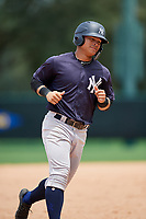 GCL Yankees West designated hitter Antonio Cabello (25) rounds the bases after Stanley Rosario (not pictured) hit a home run in the bottom of the third inning during the second game of a doubleheader against the GCL Braves on July 30, 2018 at Champion Stadium in Kissimmee, Florida.  GCL Braves defeated GCL Yankees West 5-4.  (Mike Janes/Four Seam Images)