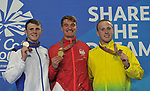 (l to r), Ross MURDOCH (SCO, silver), James WILBY (ENG, gold) and Matt WILSON (AUS, bronze) with their medals after the mens 200m . Swimming finals. XXI Commonwealth games. Optus Aquatics Centre. Gold Coast 2018. Queensland. Australia. 05/04/2018. ~ MANDATORY CREDIT Garry Bowden/SIPPA - NO UNAUTHORISED USE - +44 7837 394578
