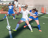 Chicago Red Stars forward Ella Masar (3) protects the ball from Boston Breakers defender Cat Whitehill (4).  In a National Women's Soccer League Elite (NWSL) match, the Boston Breakers defeated  Chicago Red Stars 4-1, at the Dilboy Stadium on May 4, 2013.