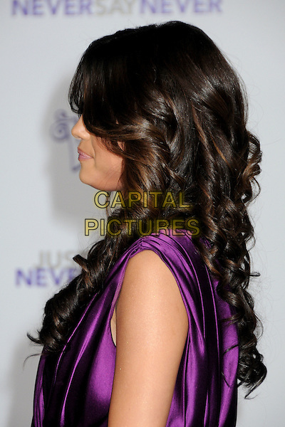 "SELENA GOMEZ .""Justin Bieber: Never Say Never"" Los Angeles Premiere held at Nokia Theater L.A. Live, Los Angeles, California, USA, .8th February 2011..portrait headshot purple silk satin  sleeveless  side hair wavy curly profile .CAP/ADM/BP.©Byron Purvis/AdMedia/Capital Pictures."