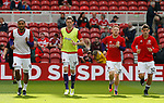 Leon Clarke, Richard Stearman, Mark Duffy and Ched Evans of Sheffield Utd warm up during the Championship match at the Riverside Stadium, Middlesbrough. Picture date: August 12th 2017. Picture credit should read: Simon Bellis/Sportimage