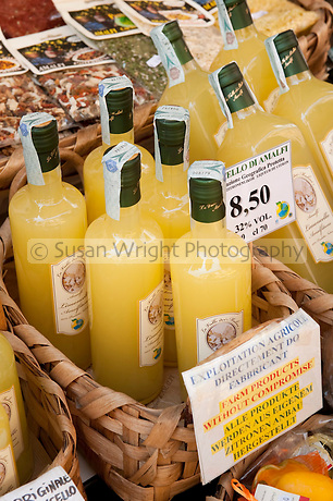 Limoncello for sale in Amalfi, Amalfi Coast, Italy