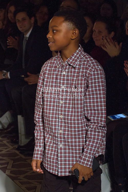 "Son of fashion designer Gionna Nicole walks runway at the close of her Avid Swim ""Cadiz Resort"" 2017 collection fashion show, on February 10, 2017 in The Stewart Hotel during Fashion Gallery New York Fashion Week Fall Winter 2017."