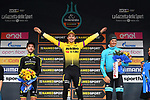 Primoz Roglic (SLO) Team Jumbo-Visma wins the 54th Tirreno-Adriatico by just 0.31 seconds over Adam Yates (GBR) Mitchelton-Scott and Jakob Fuglsang (DEN) Astana Pro Team 3rd place at the end of Stage 7 of the Race of the Two Seas, the 54th Tirreno-Adriatico 2019, an individual time trial running 10.1km around San Benedetto del Tronto, Italy. 19th March 2019.<br /> Picture: LaPresse/Gian Mattia D'Alberto | Cyclefile<br /> <br /> <br /> All photos usage must carry mandatory copyright credit (&copy; Cyclefile | LaPresse/Gian Mattia D'Alberto)