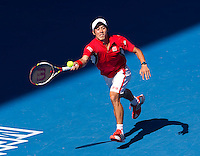 KEI NISHIKORI (JPN) against ANDY MURRAY (GBR) in the Quarter Finals of the Men's Singles. Andy Murray beat Kei Nishikori 6-3 6-3 6-1..25/01/2012, 25th January 2012, 25.01.2012 - Day 10..The Australian Open, Melbourne Park, Melbourne,Victoria, Australia.@AMN IMAGES, Frey, Advantage Media Network, 30, Cleveland Street, London, W1T 4JD .Tel - +44 208 947 0100..email - mfrey@advantagemedianet.com..www.amnimages.photoshelter.com.