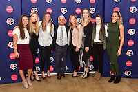 New York, NY - Thursday February 02, 2017: Stephanie McCaffrey, Kristie Mewis, Alyssa Naeher, Sunil Gulati, Christie Rampone, Samantha Mewis, Rose Lavelle, Lynn Williams during a joint NWSL and A+E Networks press conference at the A+E headquarters.