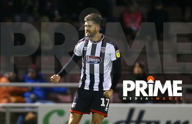 Harry Cardwell of Grimsby Town celebrates scoring his sides second goal during the Sky Bet League 2 match between Northampton Town and Grimsby Town at Sixfields Stadium, Northampton, England on 24 November 2018. Photo by Leila Coker / PRiME Media Images.