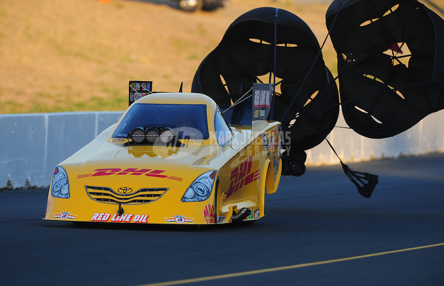 Jul. 29, 2011; Sonoma, CA, USA; NHRA funny car driver Jeff Arend during qualifying for the Fram Autolite Nationals at Infineon Raceway. Mandatory Credit: Mark J. Rebilas-