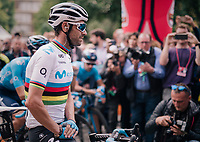 Fresh World Champion Alejandro Valverde (ESP/Movistar) getting a lot of attention at the start<br /> <br /> 99th Milano - Torino 2018 (ITA)<br /> from Magenta to Superga: 200km