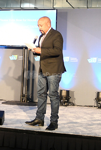 LAS VEGAS, NV - JANUARY 10: Daymond John speaks during the  CES 2019 Pitch Competition Featuring Shark Tank's Daymond John at the Start Up Stage in Eureka Park at the Sands in Las Vegas, Nevada on January 10, 2019. Credit: Damairs Carter/MediaPunch
