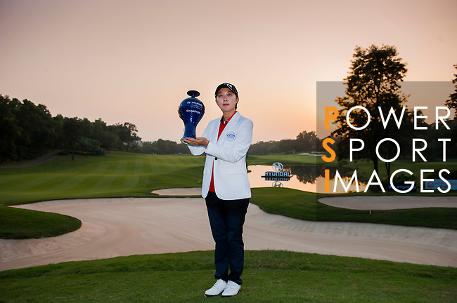 Hyo-Joo Kim of Korea celebrates after winning the Hyundai China Ladies Open 2014 at World Cup Course in Mission Hills Shenzhen on December 14 2014, in Shenzhen, China. Photo by Xaume Olleros / Power Sport Images