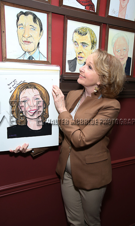 Kate Burton with Richard Burton caricature during the Sardi's Caricature Unveiling for Kate Burton joining the Legendary Wall of Fame at Sardi's on June 28, 2017 in New York City.