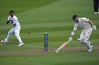 Hamish Rutherford makes his ground during day one of the 2nd cricket test match between the New Zealand Black Caps and Sri Lanka at the Hawkins Basin Reserve, Wellington, New Zealand on Saturday, 3 February 2015. Photo: Dave Lintott / lintottphoto.co.nz