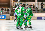 Stockholm 2014-12-19 Bandy Elitserien Hammarby IF - Broberg S&ouml;derhamn :  <br /> Hammarbys Kalle Spjuth firar sitt 3-0 m&aring;l med Robin Sundin och Jesper Jonsson under matchen mellan Hammarby IF och Broberg S&ouml;derhamn <br /> (Foto: Kenta J&ouml;nsson) Nyckelord:  Elitserien Bandy Zinkensdamms IP Zinkensdamm Zinken Hammarby Bajen HIF Broberg S&ouml;derhamn jubel gl&auml;dje lycka glad happy