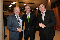 4/11/10 Bill O'Herlihy, John Delaney, FAI Chief Executive and PAckie Bonner at the launch of John Giles autobiography A Football Man, at the Aviva Stadium, Dublin. Picture:Arthur Carron/Collins