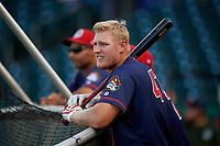 Peoria Chiefs Luken Baker (47) during batting practice before a game against the Bowling Green Hot Rods on September 15, 2018 at Bowling Green Ballpark in Bowling Green, Kentucky.  Bowling Green defeated Peoria 6-1.  (Mike Janes/Four Seam Images)