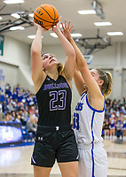 Caroline Lyles of Fayetteville shoots Friday, Feb. 7, 2020, as Taylor Treadwell of Rogers defends at King Arena in Rogers. Go to nwaonline.com/prepbball/ to see more photos.<br /> (NWA Democrat-Gazette/Ben Goff)