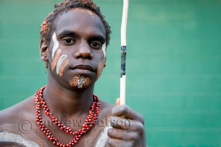 Indigenous dancer from Lockhart River at the Laura Aboriginal Dance Festival.  Laura, Queensland, Australia