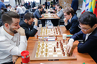 29th December 2019, Moscow, Russia;  Yu Yangyi R, front of China and Ian Nepomniachtchi L, front of Russia compete in the final round of the 2019 King Salman World Chess Rapid Open Championship in Moscow, Russia