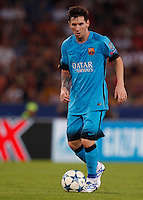 Calcio, Champions League, Gruppo E: Roma vs Barcellona. Roma, stadio Olimpico, 16 settembre 2015.<br /> FC Barcelona&rsquo;s Lionel Messi in action during a Champions League, Group E football match between Roma and FC Barcelona, at Rome's Olympic stadium, 16 September 2015.<br /> UPDATE IMAGES PRESS/Riccardo De Luca<br /> <br /> *** ITALY AND GERMANY OUT ***
