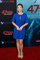 Los Angeles, CA - AUG 13:  Lauren Zima attends the Los Angeles Premiere of '47 Meters Down: Uncaged' at Regal Village Theater on August 13 2019 in Los Angeles CA. Credit: CraSH/imageSPACE/MediaPunch