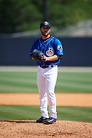 Biloxi Shuckers relief pitcher Bubba Derby (19) gets ready to deliver a pitch during a game against the Jackson Generals on April 23, 2017 at MGM Park in Biloxi, Mississippi.  Biloxi defeated Jackson 3-2.  (Mike Janes/Four Seam Images)