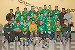 MEDALS: The Finuge Under-12 team who were presented with their 2007 Div Three North Kerry football medals by Eamon Fitzmaurice, Eamon Breen and Paul Galvin at a ceremony in Finuge clubhouse on Friday night.  Pictured front l-r: Ann Marie O'Sullivan (secretary), Padraig McCarthy, Brendan O'Sullivan, Padraig Buckley, Ger Stackpoole, David Silles, Jamie Fitzgerald and Mary Keane Horgan (chairperson). Middle l-r: Rebecca Horgan, Jason Wallace, Alan Carey, Ian McAuliffe, Shane O'Sullivan, Sarah Kerins and Padraig Carroll.  Back l-r:  Paul Galvin, David Quilter, Darragh Shanahan, Kevin Guerin, Eddie Horgan, Jack Joy, Cathal Dowling, Michael Stackpoole, Eamon Fitzmaurice and Eamon Breen.   Copyright Kerry's Eye 2008