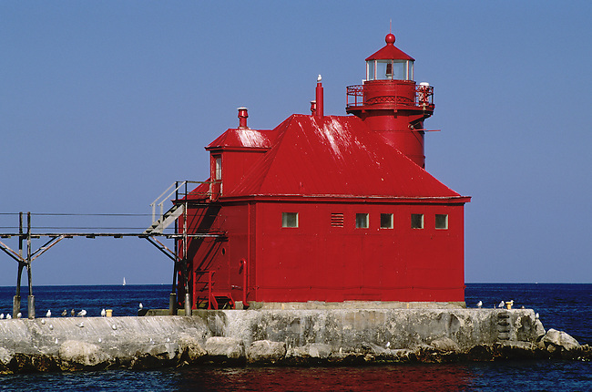 426-48 Sturgeon Bay Canal Pierhead Lighthouse, Sturgeon Bay Canal, Door County, Wisconsin, Lake Michigan