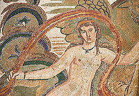 Close up picture of a Roman mosaics design depicting a Nymph lying on a sea horse , from the ancient Roman city of Thysdrus. 3rd century AD, House of Dolphins. El Djem Archaeological Museum, El Djem, Tunisia.