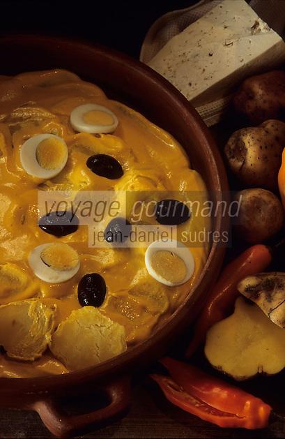 """Amérique/Amérique du Sud/Pérou/Lima : Restaurant """"El Senorio de Sulco"""" - Détail plat péruvien classique """"Papas à la Huancaina"""""""