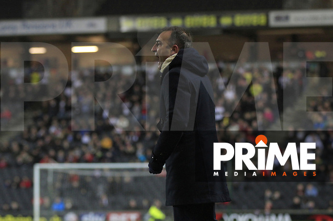 Sheffield Wednesday manager Carlos Carvalhal shows his frustration during the Sky Bet Championship match between MK Dons and Sheff Wednesday at stadium:mk, Milton Keynes, England on 15 December 2015. Photo by Liam Smith.