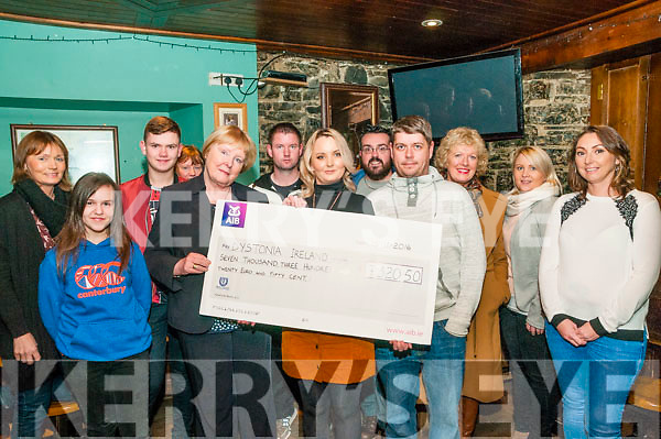 Cheque Presentation: Mairead Kelliher-Enright, Lixnaw, centre presentinh a cheque for €7,320.50, the proceeds of a walk held earlier on this year to Marie Hickey , Chairperson of the Dystonia Ireland at the Dew Drop Inn, Lixnaw on Friday evening last.
