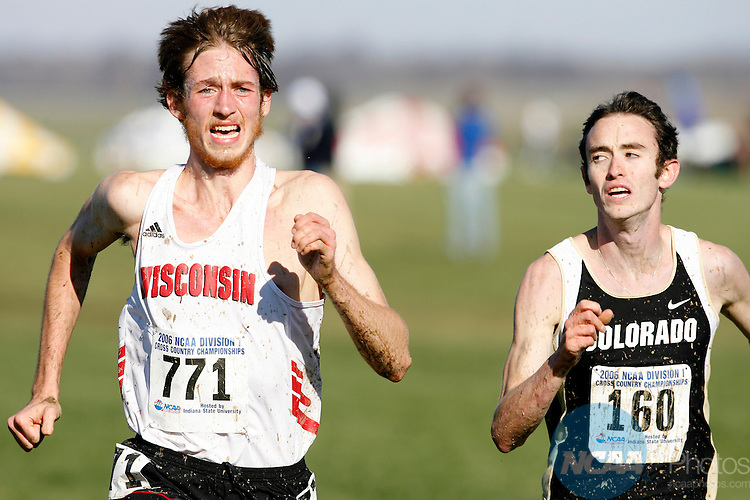 20 NOV 2006: Stuart Eagon (771) of the University of Wisconsin beats Brent Vaughn of the University of Colorado to the finish line to finish 11th in the 10,000 meter race at the Division I Men's and Women's Cross Country Championships held at the Wabash Valley Family Sports Center in Terre Haute, IN.  Josh Rohatinsky of Bringham Young University won the race with a time of 30:44.9 while the University of Colorado took home the Men's team title.  Joe Robbins/NCAA Photos