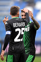 Francesco Caputo of US Sassuolo celebrates after scoring the goal of 2-0 with Domenico Berardi of US Sassuolo <br /> Reggio Emilia 22/09/2019 Stadio Citta del Tricolore <br /> Football Serie A 2019/2020 <br /> US Sassuolo - SPAL <br /> Photo Andrea Staccioli / Insidefoto