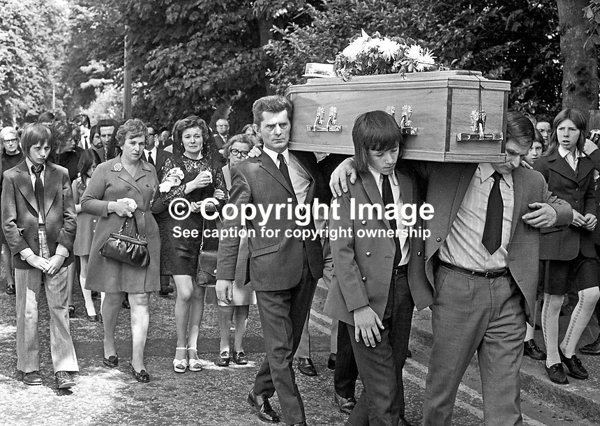 Funeral of Patrick Wilson, prominent SDLP member and election agent for party leader, Gerry Fitt, who was murdered by the UFF, leaving St Therese's Roman Catholic Church, Somerton Road, Belfast, N Ireland, UK. 197396280459<br />