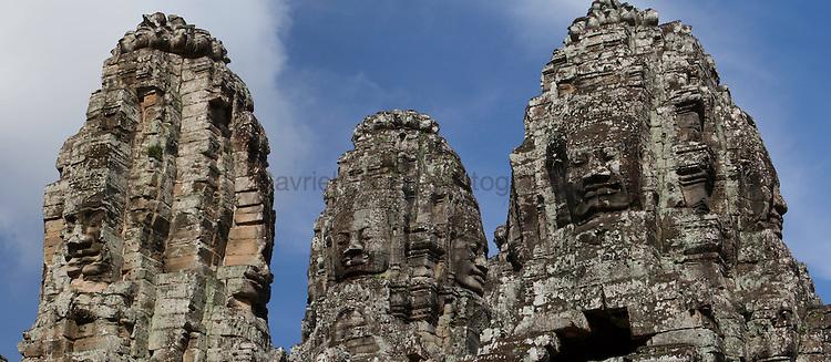 Close up of Angkor Wat historical site ruines