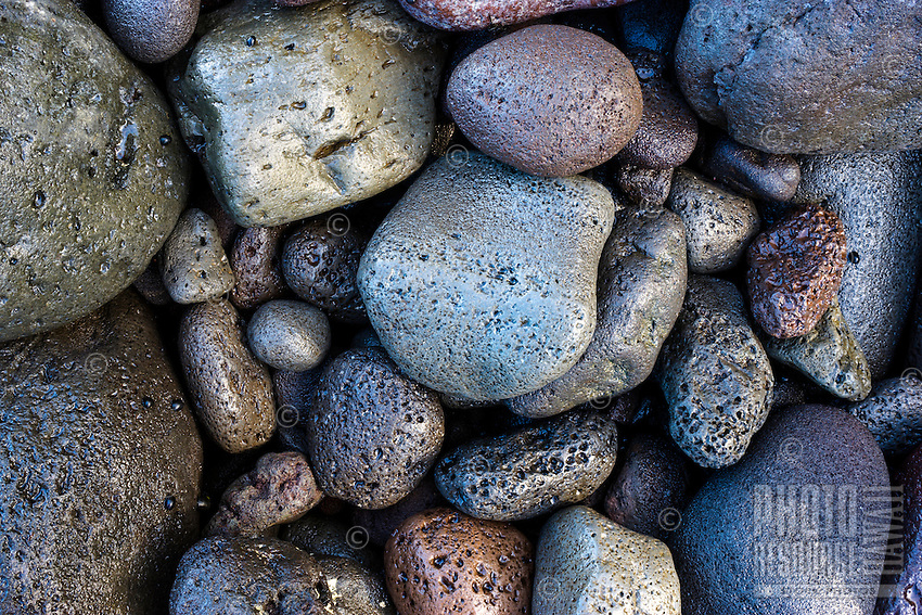 Detail of the colorful rocks that make up the Pololu Valley beach in Hawi, Hawai'i Island.