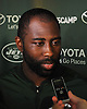 Darrelle Revis #24, New York Jets cornerback, speaks with the media after a day of team training camp at Atlantic Health Jets Training Center in Florham Park, NJ on Saturday, Aug. 6, 2016