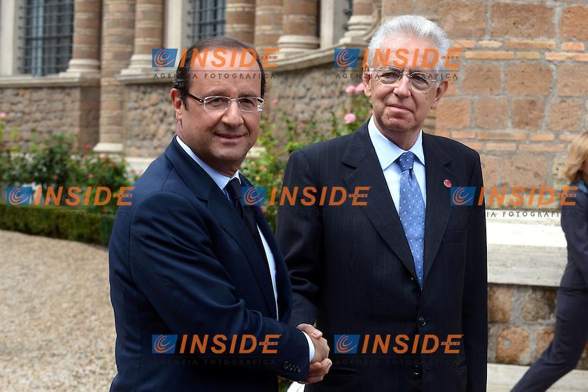 Francoise Hollande and Mario Monti.Roma 04/09/2012 Villa Madama. Vertice bilaterale Italia Francia. Il Premier Italiano incontra il Premier Francese.Italian Prime Minister meets the French Premier at Villa Madama.Photo Pool/Insidefoto