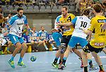 GER - Mannheim, Germany, September 23: During the DKB Handball Bundesliga match between Rhein-Neckar Loewen (yellow) and TVB 1898 Stuttgart (white) on September 23, 2015 at SAP Arena in Mannheim, Germany. Final score 31-20 (19-8) .  Dominik Weiss #6 of TVB 1898 Stuttgart, Kim Ekdahl du Rietz #60 of Rhein-Neckar Loewen, Kasper Kisum #10 of TVB 1898 Stuttgart<br /> <br /> Foto &copy; PIX-Sportfotos *** Foto ist honorarpflichtig! *** Auf Anfrage in hoeherer Qualitaet/Aufloesung. Belegexemplar erbeten. Veroeffentlichung ausschliesslich fuer journalistisch-publizistische Zwecke. For editorial use only.