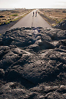 road run over by lava, at the end of Chain of Crater Road, Hawaii Volcanoes National Park, Kilauea, Big Island, Hawaii, USA, Pacific Ocean
