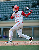 Shortstop Scott Slappey (2) of the Miami (Ohio) Redhawks hits in a game against the Furman Paladins on Sunday, February 17, 2013, at Fluor Field at the West End in Greenville, South Carolina. Furman won, 6-5. (Tom Priddy/Four Seam Images).
