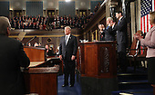 US President Donald J. Trump after delivering his first address to a joint session of Congress from the floor of the House of Representatives in Washington, DC, USA, 28 February 2017.  Traditionally the first address to a joint session of Congress by a newly-elected president is not referred to as a State of the Union.<br /> Credit: Jim LoScalzo / Pool via CNP