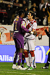 Rayo Vallecano´s Jose Raul Baena and Malaga CF´s goalkeeper Idriss Carlos Kameni during 2014-15 La Liga match between Rayo Vallecano and Malaga CF at Rayo Vallecano stadium in Madrid, Spain. March 21, 2015. (ALTERPHOTOS/Luis Fernandez)