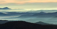 Panoramic view of Blue Ridge Mountains from Blue Ridge Parkway, North Carolina