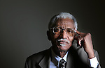 "Retired educator Mohamed Salih poses for a portrait in the Wyoming Tribune Eagle studio earlier this week. Salih is from Sudan and is the former dean of Business and Technology departments at Laramie County Community College and after the terrorist attacks of 9/11 started reaching out and attending all the churches in the area to explain the muslim religion. ""The people here are great and I love the wind!"" said Salih about living in Laramie County. Michael Smith/staff"