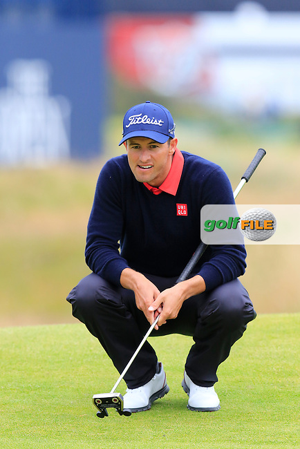 Adam Scott (AUS) lines up his putt on the 17th green during Monday's Final Round of the 144th Open Championship, St Andrews Old Course, St Andrews, Fife, Scotland. 20/07/2015.<br /> Picture Eoin Clarke, www.golffile.ie